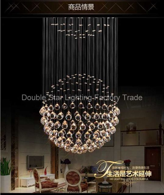 Moderne FÜHRTE Kugel K9 Kristall Lampe Duplex Treppen Luxus-villa Wohnzimmer Runde Kugel Kristall Pendelleuchten Projekt Lichter