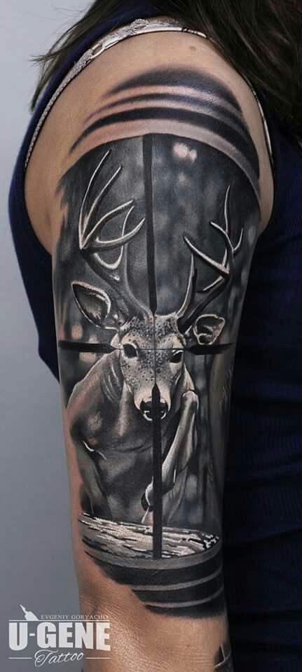 Love the tattoo not the sentiment - deer through the sights of a scope - tap by @evgeniy_goryachiy at @redberrytattoostudio @molokotattoostudio