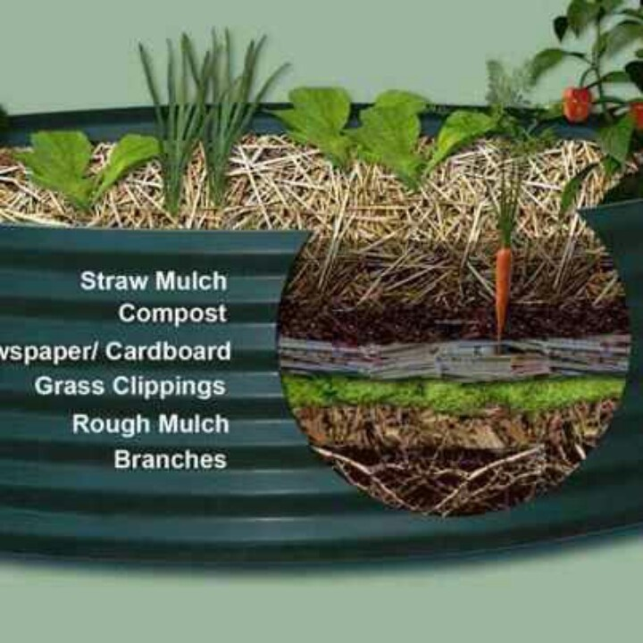 how to layer material for a raised bed garden without importing expensive potting mix topsoil layer straw mulch compost newspaper cardboard grass