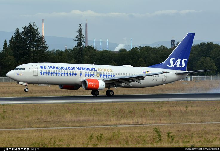 SAS Scandinavian Airlines Boeing 737-883 LN-RCY aircraft, named ''EYLIME viking'', painted in ''Eurobonus'' special colours Aug. 2015 landing at Germany Frankfurt am Main (Rhein-Main) International Airport. 26/09/2016.