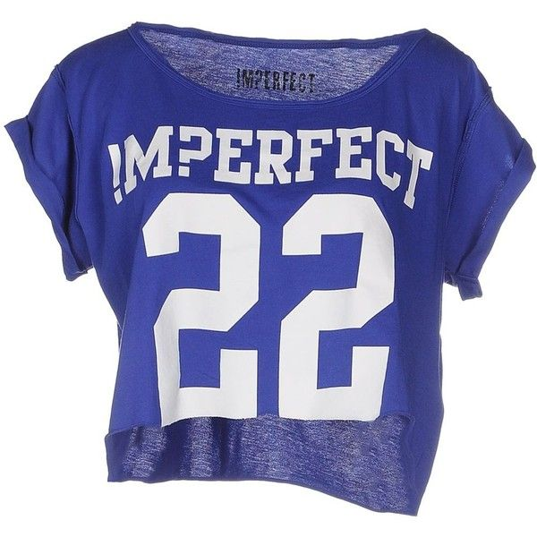 !m?erfect T-shirt ($38) ❤ liked on Polyvore featuring tops, t-shirts, shirts, crop, blue, t shirts, crop top, short sleeve crop top, short sleeve shirts and shirt crop top