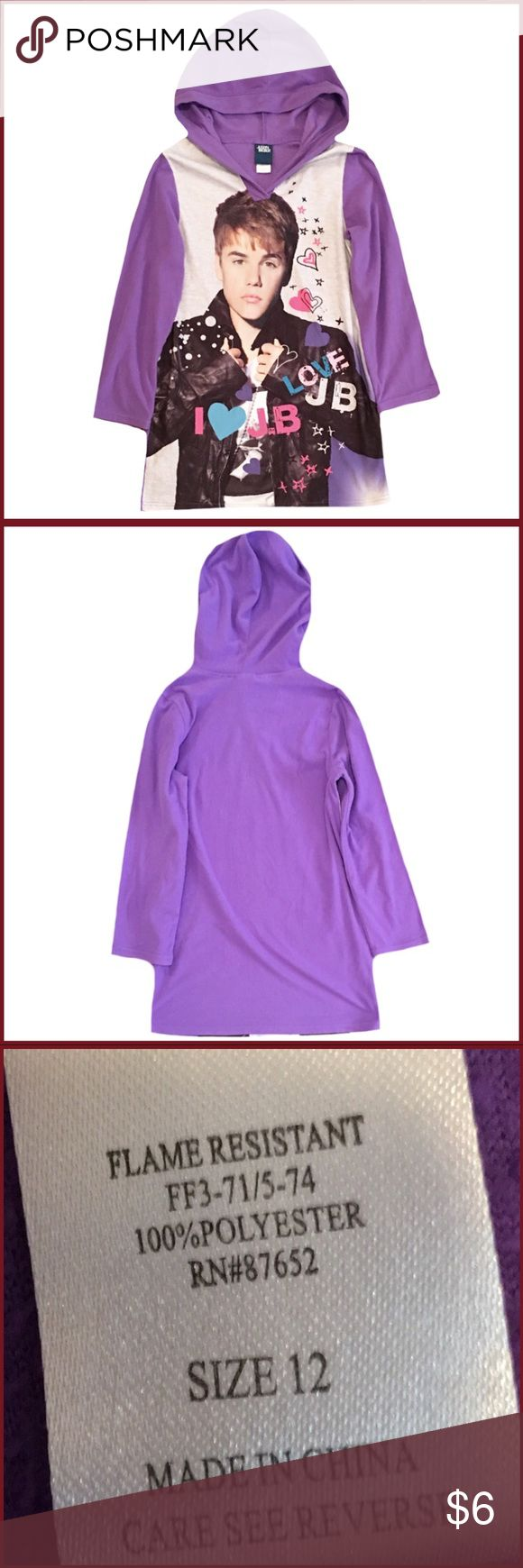 Justin Bieber Girl's Size 12 Nightgown Gently used Justin Bieber girl's size 12 long sleeve hooded purple nightgown. Made with 100% Polyester Justin Bieber Pajamas Nightgowns