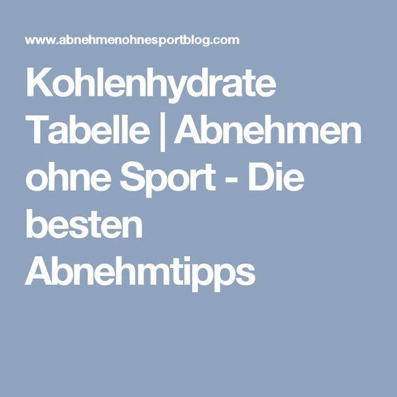 Kohlenhydrate Tabelle   Abnehmen ohne Sport - Die besten Abnehmtipps