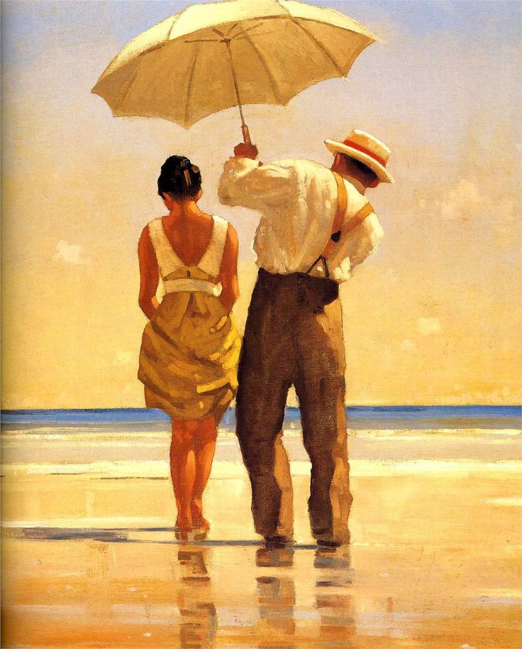 Jack Vettriano - I like how everything is golden. This would be perfect on the mantel.