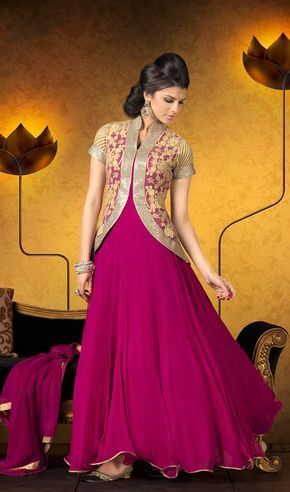 Magenta Embroidered Georgette Anarkali Suit Price: Usa Dollar $148, British UK Pound £87, Euro109, Canada CA$161 , Indian Rs7992.