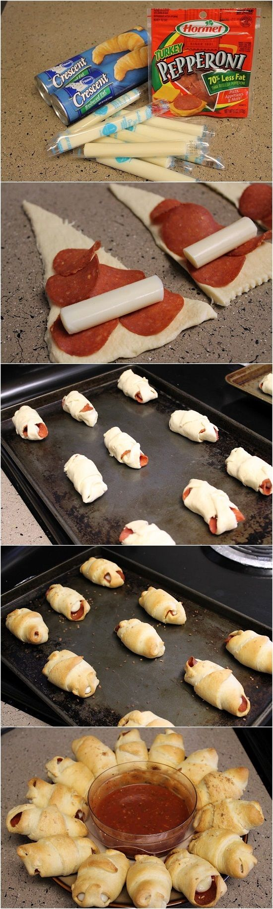 #KatieSheaDesign ♡❤ ❥▶ Pepperoni and Cheese Crescents. #Party #Holiday…