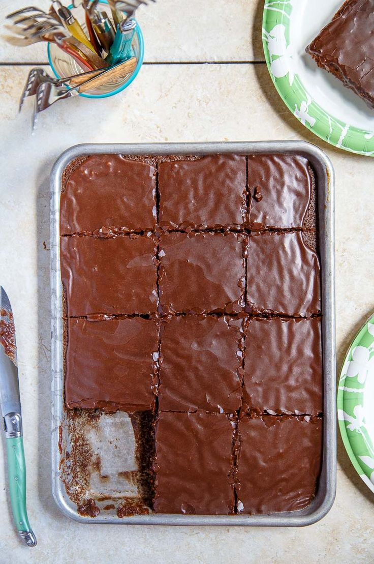 Texas Chocolate (Quarter) Sheet Cake with chocolate frosting, small batch recipe #dessertfortwo (this one serves a little more than two though :)