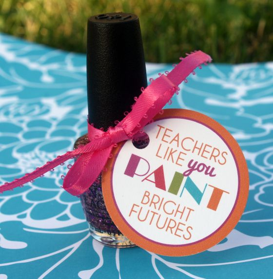 Nail Polish Gift Tag for Teachers on first day of school!