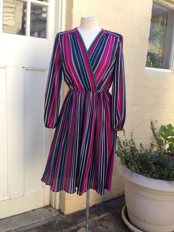 Medium - Large 1970's striped cross over dress size 12- 14, ships from australia on Etsy, $35.00 AUD