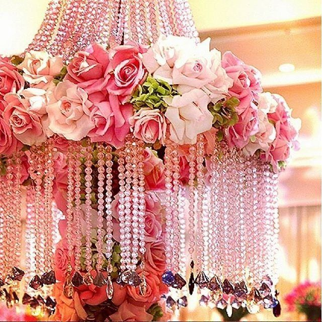 Todayu0027s Mixture Of Floral And Crystals As Hanging Chandeliers Like  @theemptyvaseu0027s Stunning Pink Design Is