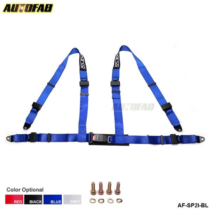 AUTOFAB - Universal JDM Car Auto Racing Sport Seat Belt Safety Harness Strap BLACK AF-SP2I-BK