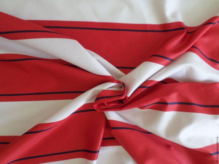 """Купить Сатин """"Широкая красная полоска"""" - белый, красный, полоски, полоска, полосатая ткань, сатин"""