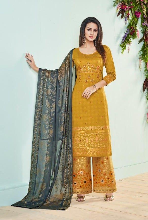 f78298b61a Deepsy Roza Pure Jam Silk Cotton Foil Print Suit (8 Pc Set) | Cotton ...