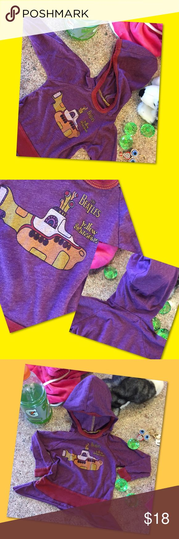 Yellow Submarine It's cute, it's comfy 100% cotton, and it's an eclectic infant hoodie! Get your groove on and celebrate the Beatles in this adorable purple tee shirt style hoodie! Trendy fashion ole school style for your little one. Used adorbs item. Rowdy Sprout Shirts & Tops Tees - Long Sleeve