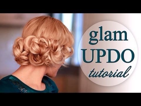Curly updo hairstyle tutorial: faux bob for long hair - YouTube