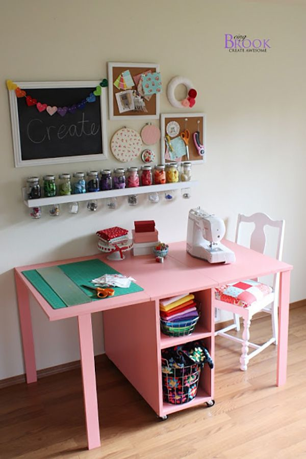 I love this sewing set up. Plenty of space for a big long project that will need that table space behind the machine when you're sitting, and even a pot for cutting! Perfect!