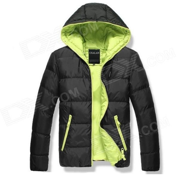 YH1039 Autumn  Winter Leisure Men's Cotton-padded Clothes Zipper Cotton Coat - Black + Green (XXL)