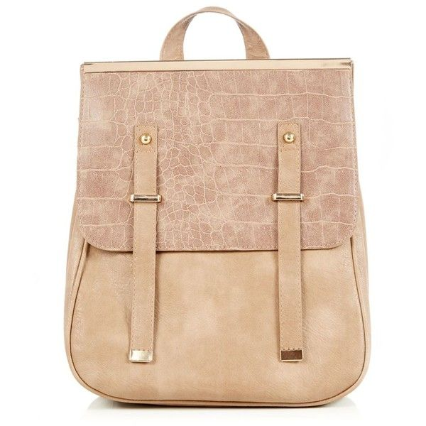 Mink Metal Tip Croc Panel Backpack ($23) ❤ liked on Polyvore featuring bags, backpacks, backpack, daypack bag, backpack bags, crocodile backpack, beige backpack and day pack backpack