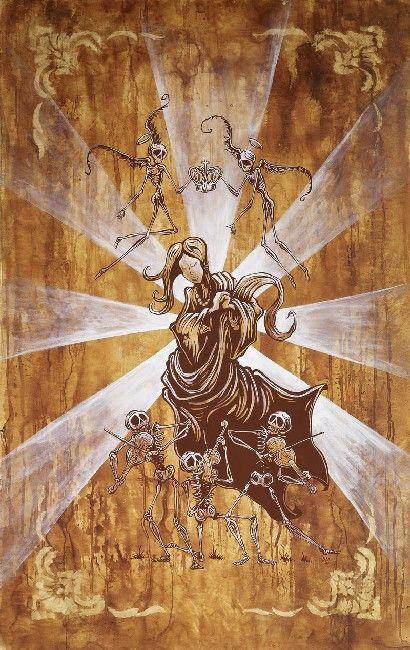 Song For Mary by David Lozeau Catholic Skeleton Canvas Art Print