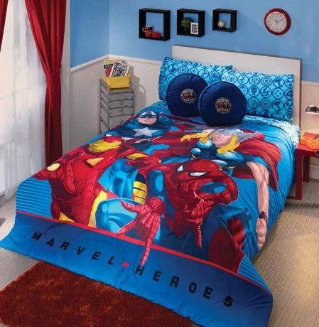 Coordinado de Edredón Marvel Heroes #Decoracion #IntimaJunior #Ideas #Spiderman #Color #Edredon #Niños #Recamara #IntimaHogar