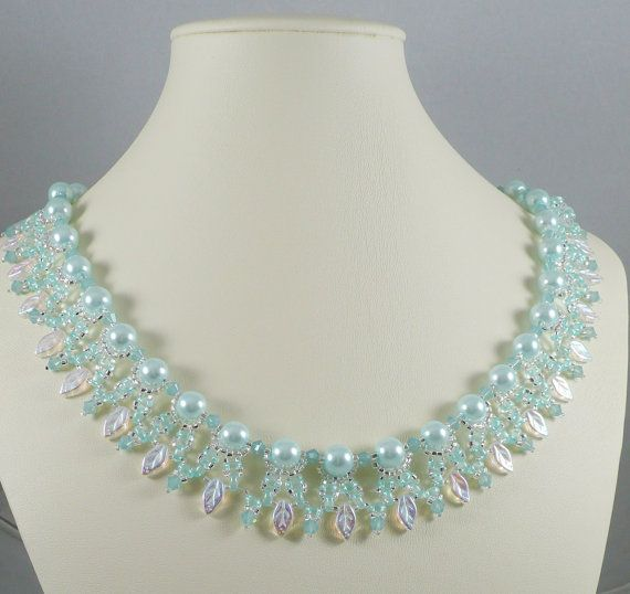 Woven Twin Bead Necklace Mint Green Pearls with Leaves - Isabella Lam Ivy Trails