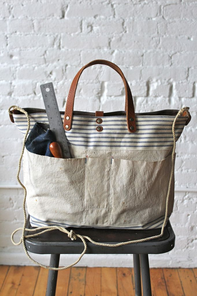 1940's era Ticking Fabric and Work Apron Carryall - FORESTBOUND - black fringe bag, mens shoulder bags, branded ladies bags sale *sponsored https://www.pinterest.com/bags_bag/ https://www.pinterest.com/explore/bag/ https://www.pinterest.com/bags_bag/radley-bags/ http://www.solesociety.com/bags.html