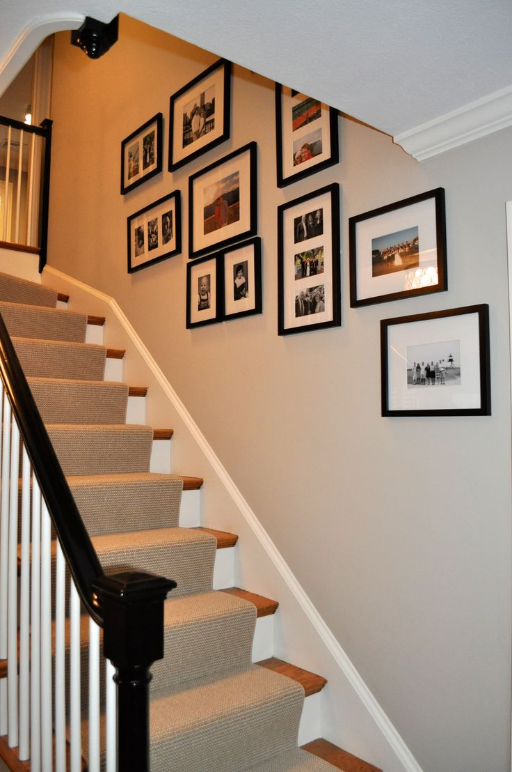 Memory Photo Wall - Pottery Barn Gallery in a box, paint - high gloss black banister and Benjamin Moore Revere Pewter