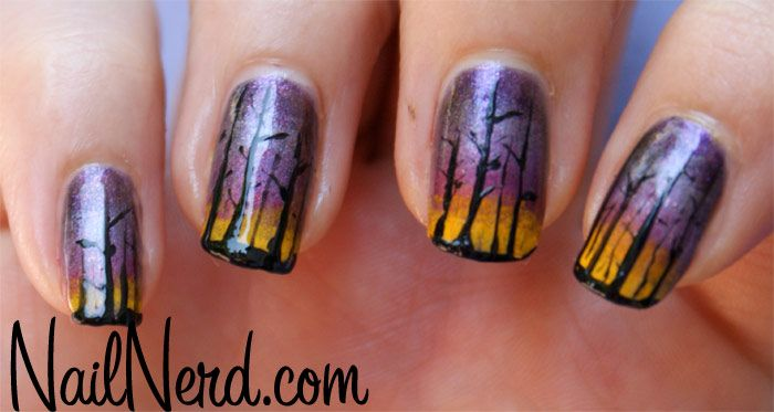 People, these are some of the coolest nails Ive seen!Trees Nails, Nerd Nails, Fall Nails, Sunsets Nails, Halloween Trees, Halloween Nails Art, Dark Forests, Gradient Nails, Haunted Forests