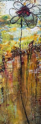 Encaustic - Long Tall Posy 1 - by Linda Virio