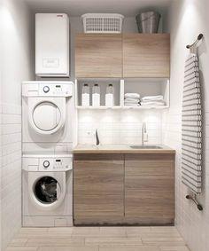 Aménagement d'une petite buanderie moderne avec lave-linge et sèche-linge http://www.homelisty.com/amenager-petite-buanderie-astuces/