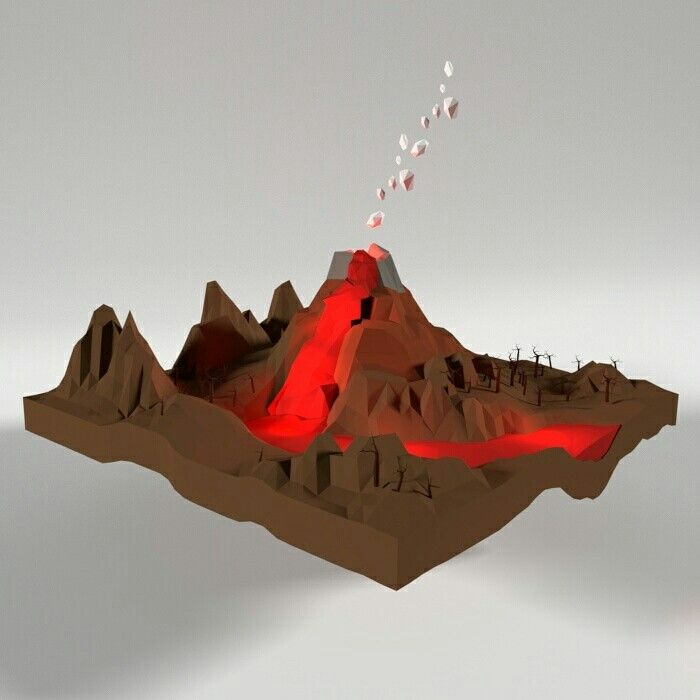 Landscape lowpoly - Volcano