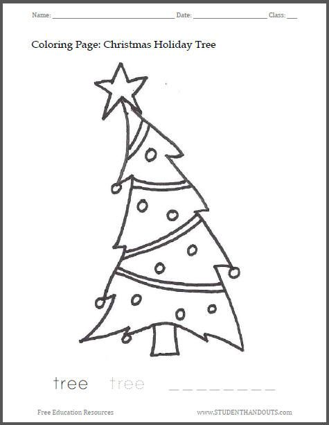 christmas holiday tree coloring sheet free to print pdf