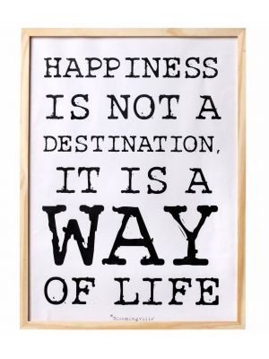 Bloomingville Schilderijtje hout, met tekst zwart wit happines 30x40cm, wood nature #quote #myhomeshopping