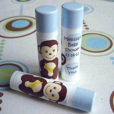 Monkey Boy Lip Balm Favor, Baby Shower