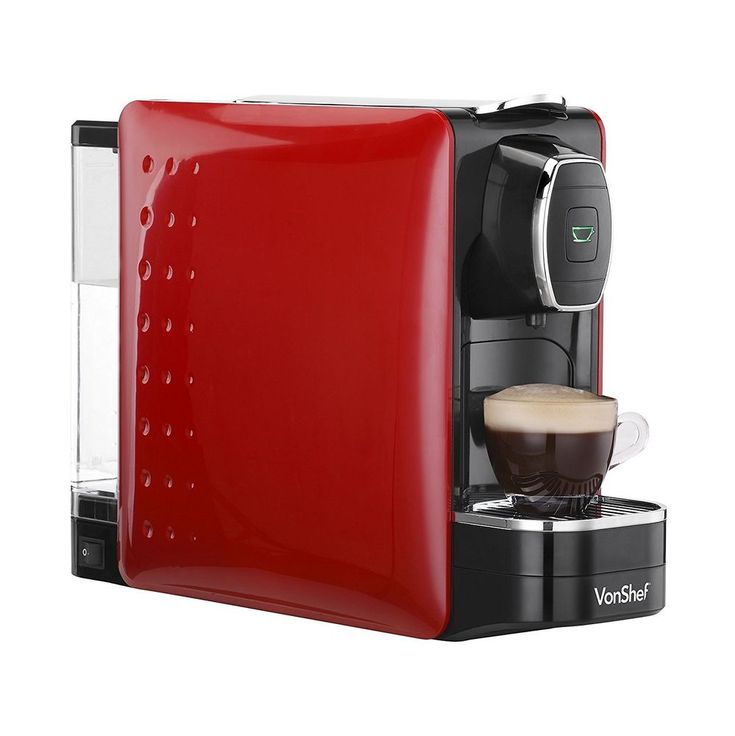 VonShef Coffee Pod Machine - For Nespresso Compatible Capsules - 1250W - in Red  | eBay
