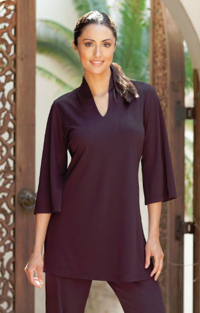 Wonderful Moroccan Spa tunic with sculted neck. Alessa spa tunic