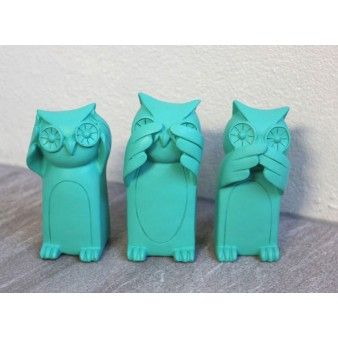 Three Wise Owls - Aqua