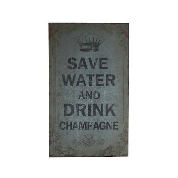 """Save Water Drink Champagne 19 3/4"""" High Wall Art ($37) ❤ liked on Polyvore featuring home, home decor, wall art, quote wall art, wood home decor, wood wall art, wooden wall art and crown wall art"""
