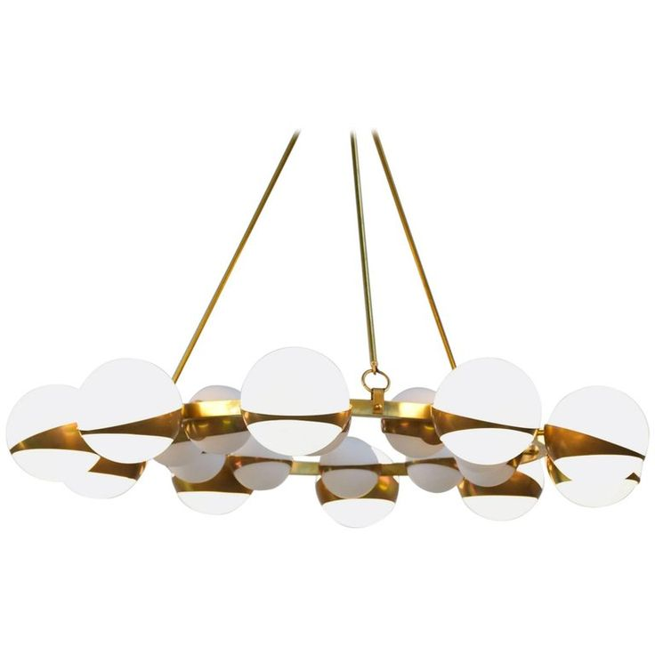 Style of Stilnovo Italian Chandelier Opalines Brass Large Sculptural Modernist | From a unique collection of antique and modern chandeliers and pendants at https://www.1stdibs.com/furniture/lighting/chandeliers-pendant-lights/