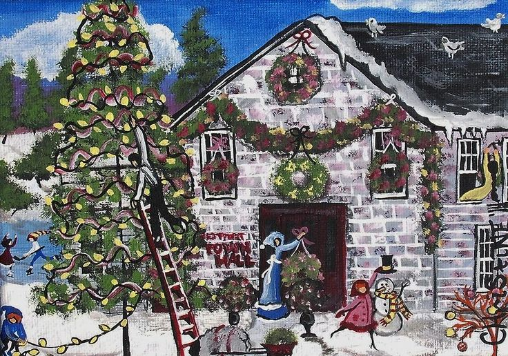 Westport Town Hall Painting - A Town Hall Christmas by Christine Janeway