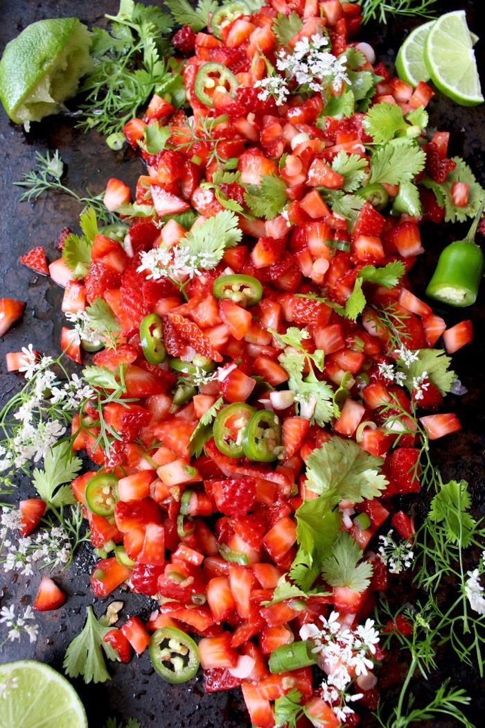 This healthy strawberry salsa recipe is nature showing off in all its splendor through perfect flavors, colors and textures.