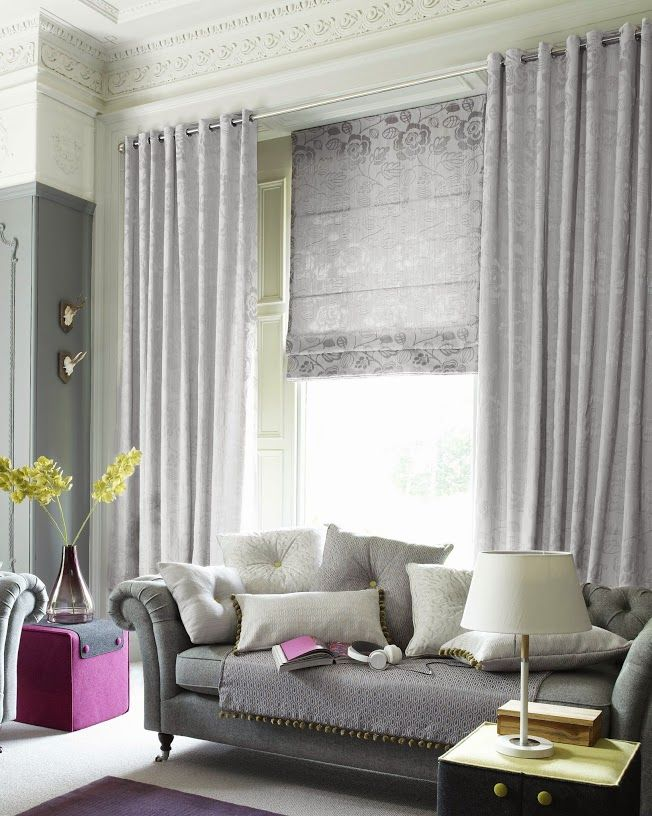 Gorgeous Curtains With Matching Roman Blind Decorating