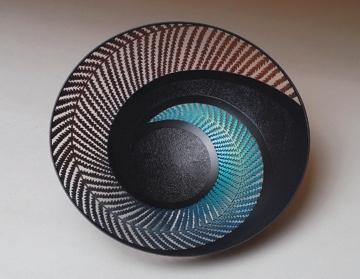 Gordon Pembridge, inside bowl, Koru Fern 5, 2007  Black Maire, Acrylic Paint, Lacque