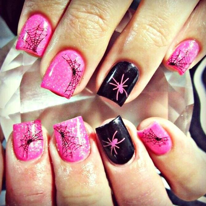 Girly Halloween Acrylic Nails In 2020 October Nails Halloween Nail Designs Skull Nails