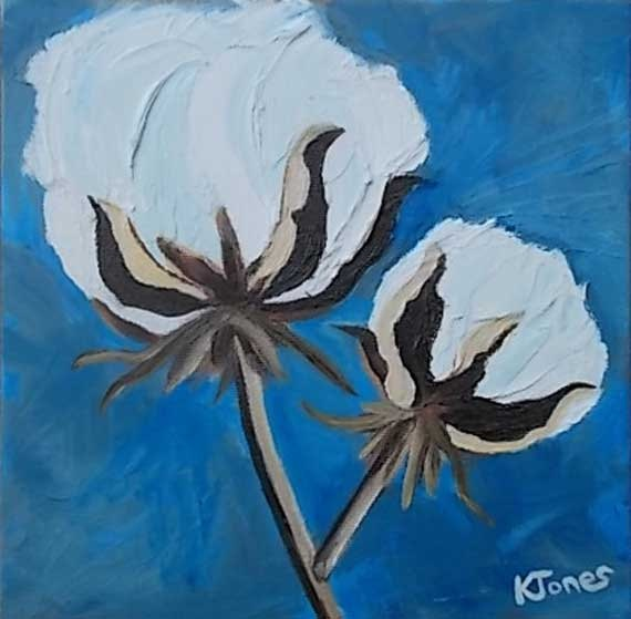 Two Cotton Bolls Oil Painting 8 x 8 by Louisiana by dixielandart, $75.00