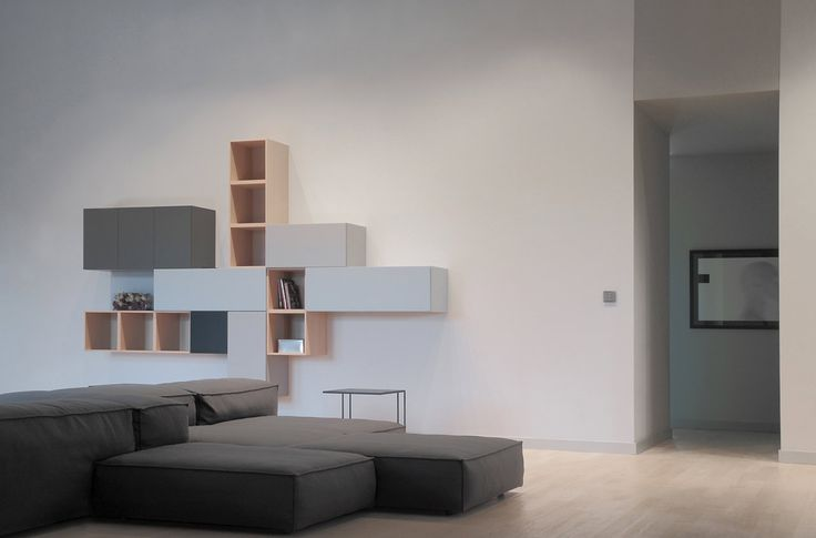 PULVA, minimalistic, interior design, minimal, modern, materials, home, homestyle, house, dom, living room, living divani, extrasoft, porro, shelf, composition, tv