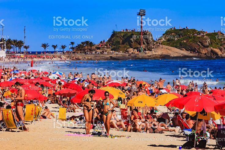 Brazil - Ipanema Beach, Rio de Janeiro, bikinis and umbrellas royalty-free stock photo
