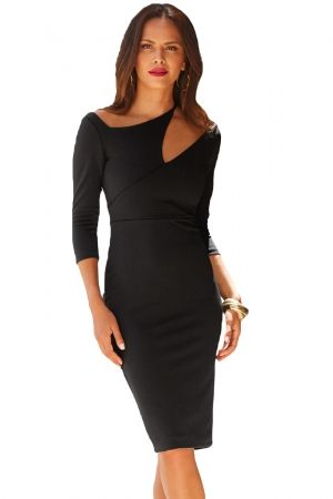 e5d0af6548e Black Asymmetric Cutout Shoulder Bodycon Midi Dress in 2019