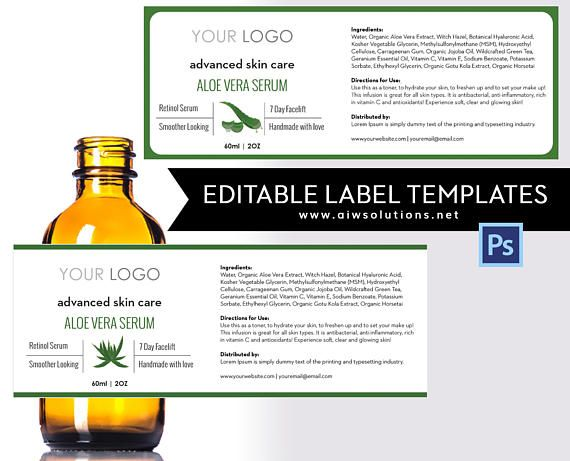 Aloe Veralabel template 4oz label 8oz label template Skin – Product Label Template
