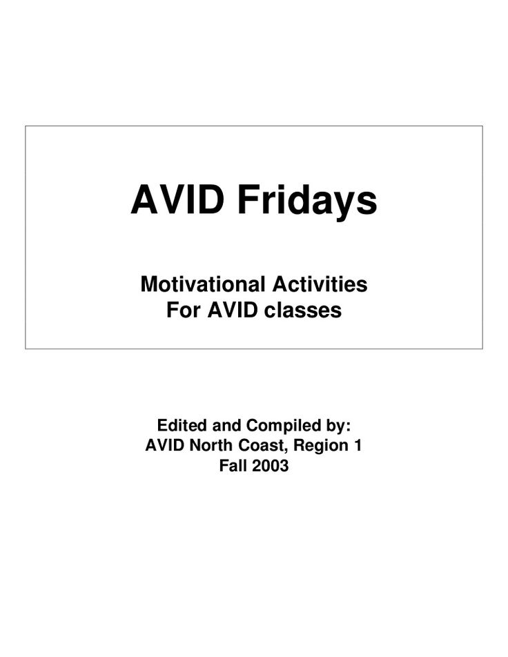 Avid Fridays-Lots of ideas here for team building and self-awareness. Some can be used for elementary level.